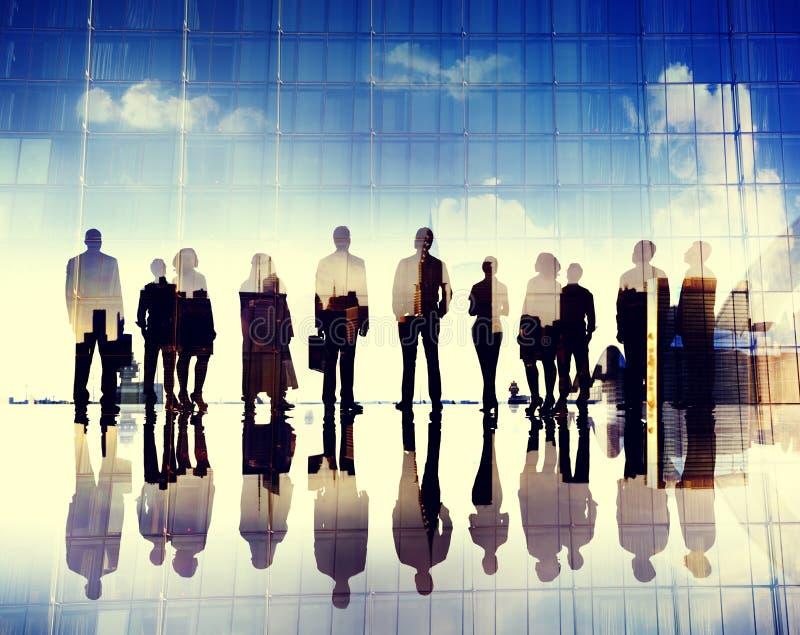 Begrepp för stad för mål för ambition för vision för affärsfolk företags royaltyfria bilder