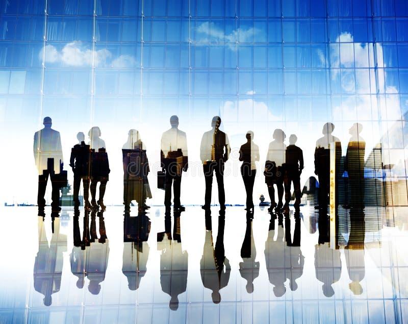 Begrepp för stad för mål för ambition för vision för affärsfolk företags arkivfoton