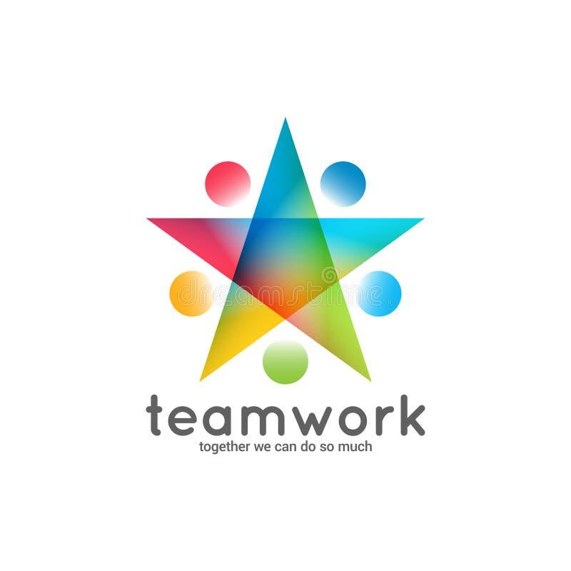 Begrepp för stjärna för teamworklogoaffär på vit bakgrund stock illustrationer