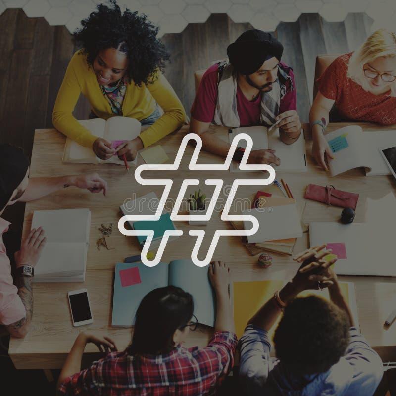 Begrepp för stolpe för blogg för massmedia för Hashtag symbol socialt arkivbilder