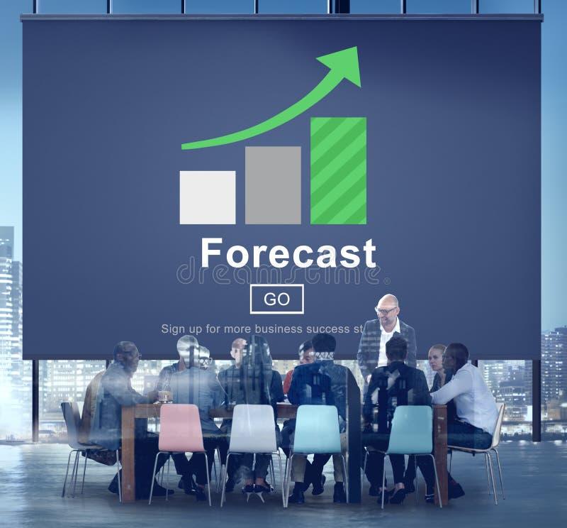 Begrepp för strategi för framtida plan för prognosförutsägelse online- arkivfoton