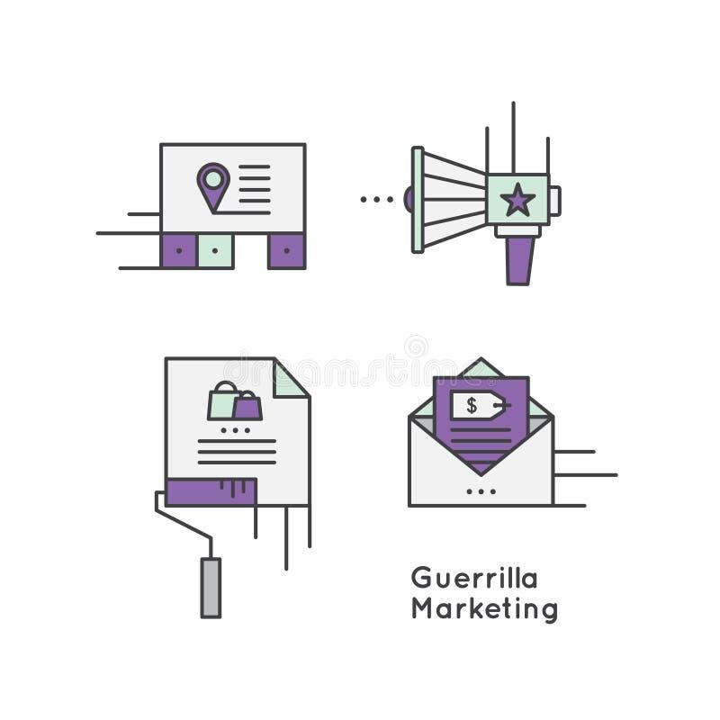 Begrepp för strategi för gerillasoldatmarknadsföringsannonsering royaltyfri illustrationer