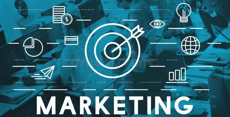 Begrepp för strategi för marknadsföringsadvertizing kommersiellt royaltyfria bilder