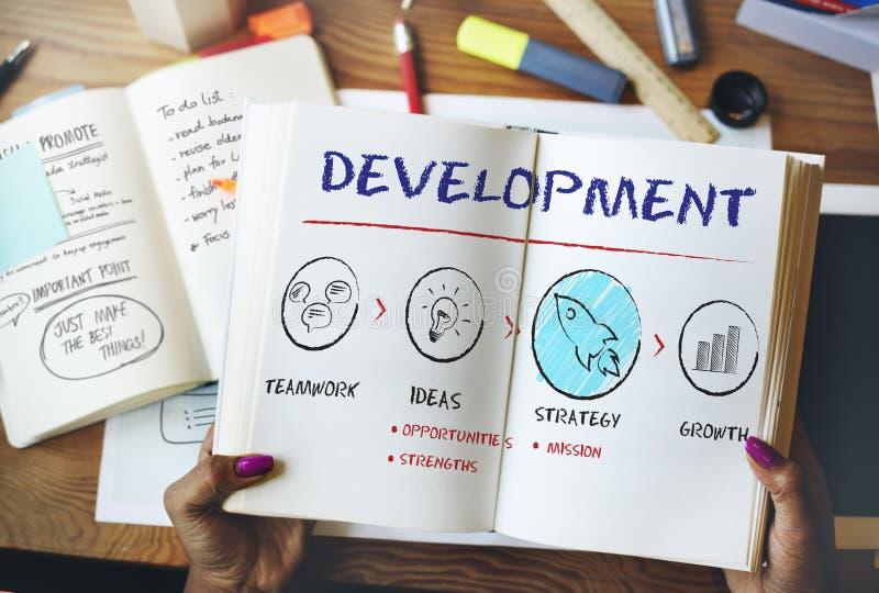 Begrepp för strategi för tillväxt för utvecklingsaffärsplan arkivfoto
