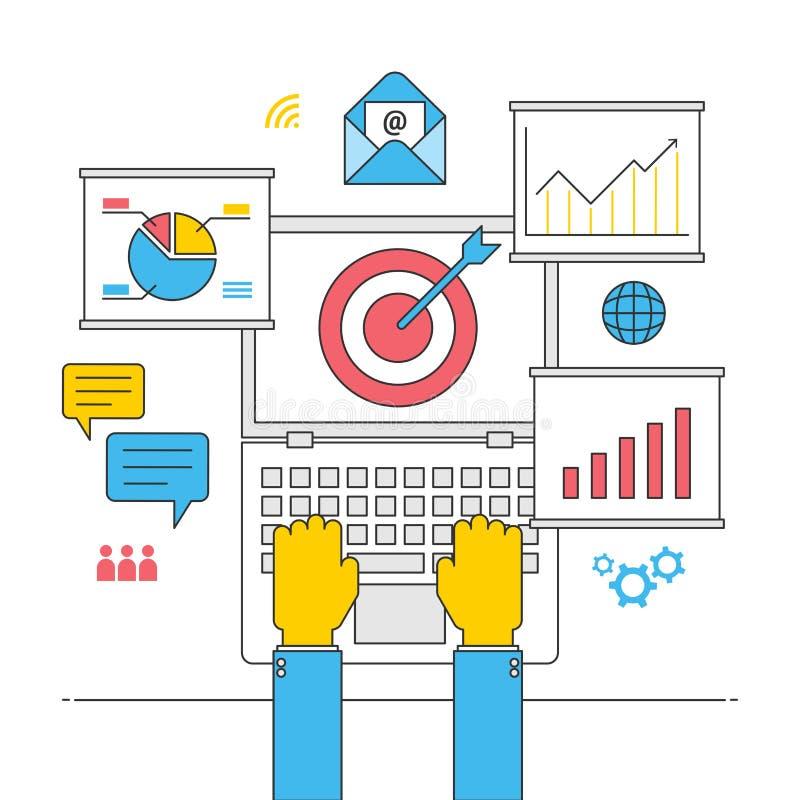 Begrepp för strategi för Seo optimizationonline-affär, lyckad kommersiell planläggning för internet vektor illustrationer