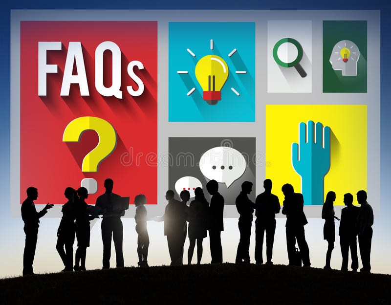 Begrepp för svar för information om vanliga frågorhjälp arkivbild