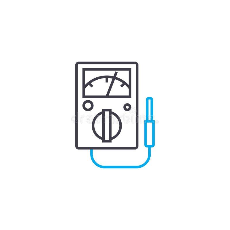Begrepp för symbol för övervakning för elektriskt system linjärt Linje vektortecken, symbol, illustration för övervakning för ele stock illustrationer