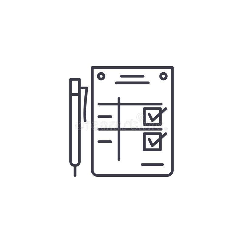 Begrepp för symbol för avslutningsmeddelande linjärt Avslutningsmeddelandelinje vektortecken, symbol, illustration royaltyfri illustrationer