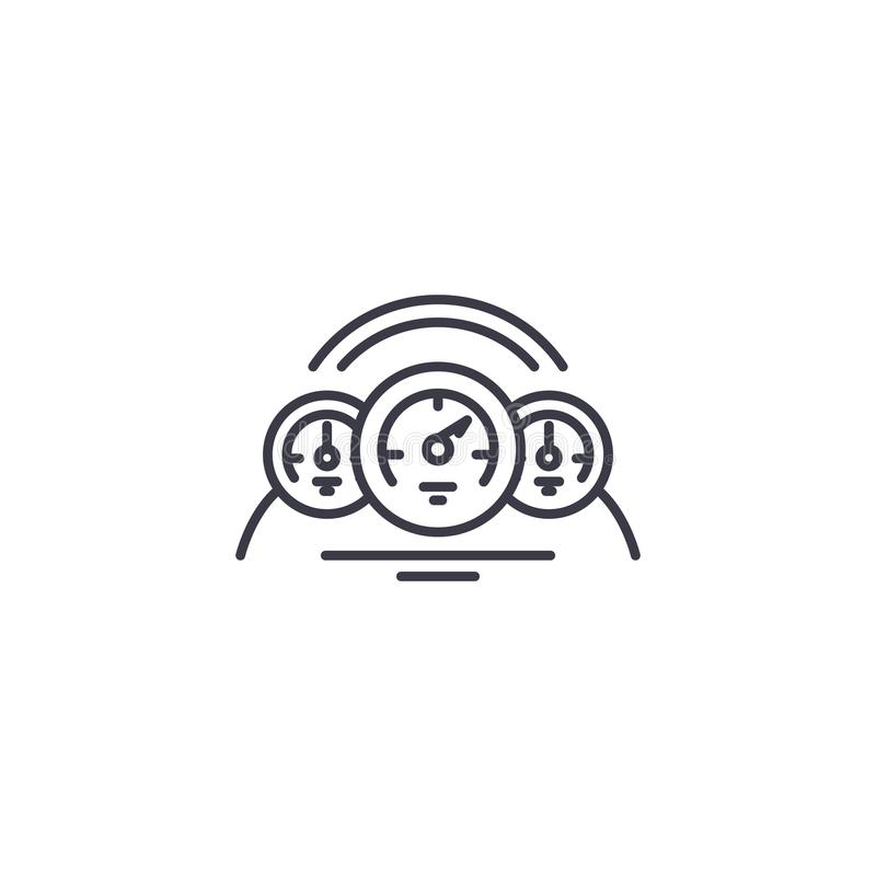 Begrepp för symbol för bilinstrumentbräda linjärt Bilinstrumentbrädalinje vektortecken, symbol, illustration stock illustrationer
