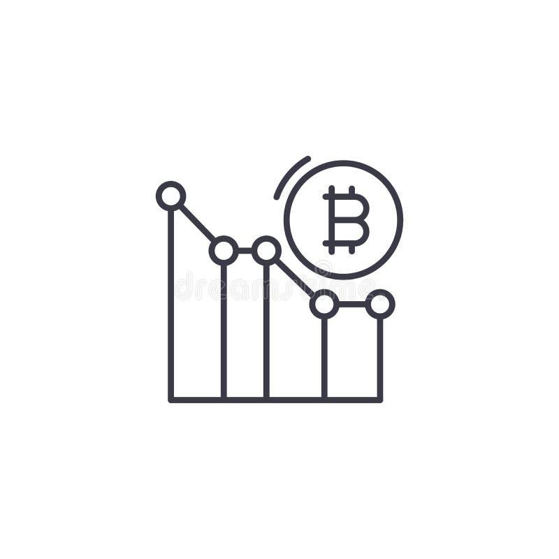 Begrepp för symbol för Bitcoin prisanalytics linjärt Bitcoin prisanalytics fodrar vektortecknet, symbolet, illustration vektor illustrationer