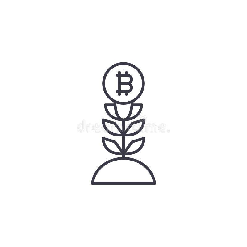 Begrepp för symbol för Bitcoin pristillväxt linjärt Linje vektortecken, symbol, illustration för Bitcoin pristillväxt vektor illustrationer