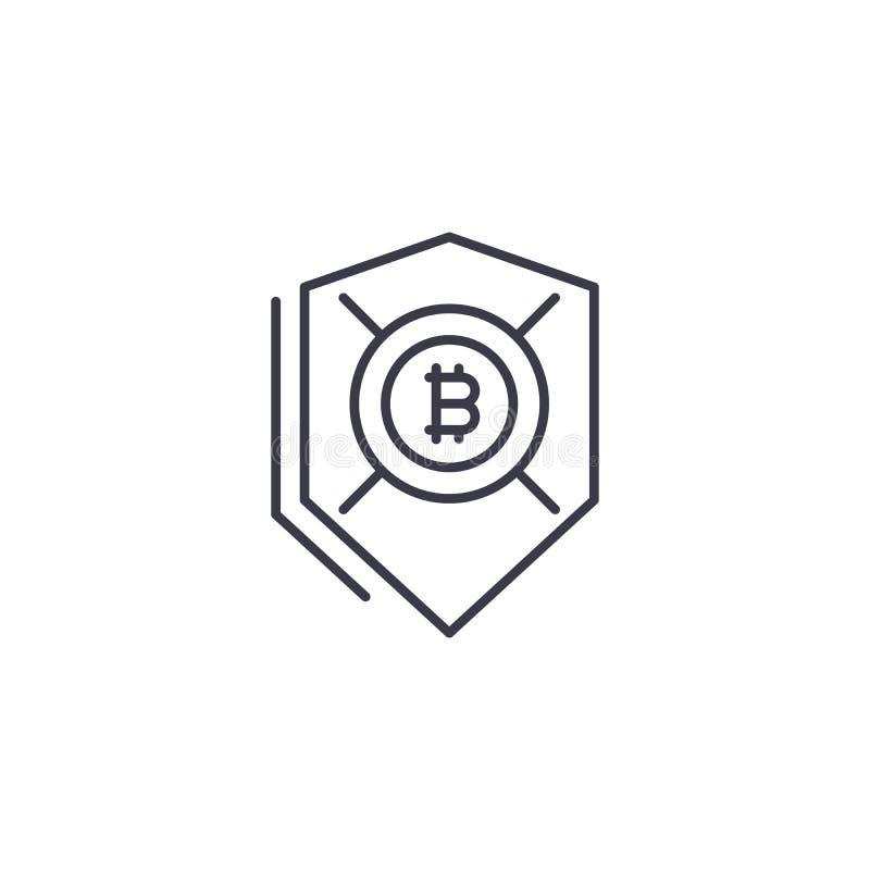 Begrepp för symbol för Bitcoin säkerhet linjärt Bitcoin säkerhetslinje vektortecken, symbol, illustration vektor illustrationer