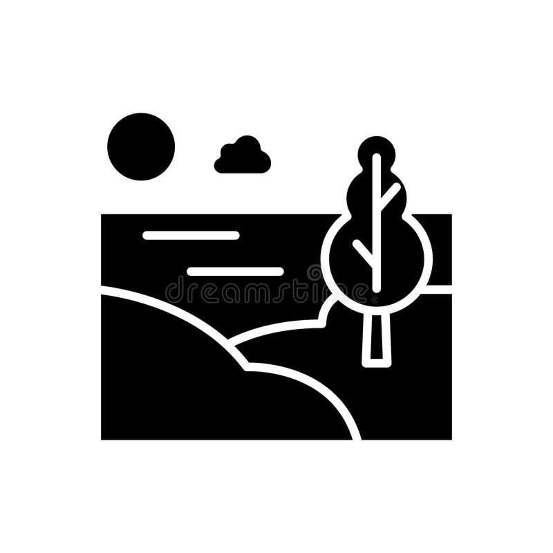 Begrepp för symbol för bygdområdessvart Symbol för vektor för bygdområdeslägenhet, tecken, illustration vektor illustrationer