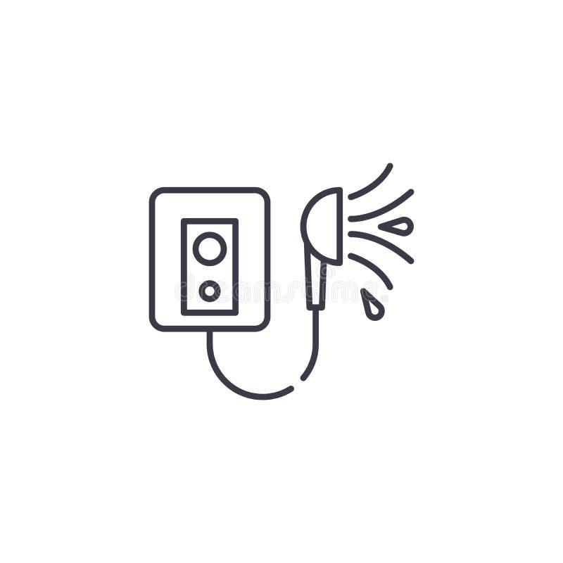 Begrepp för symbol för duschvattenvärmeapparat linjärt Linje vektortecken, symbol, illustration för duschvattenvärmeapparat vektor illustrationer