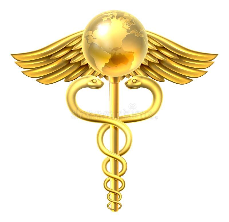 Begrepp för symbol för Caduceusjordklot medicinskt royaltyfri illustrationer