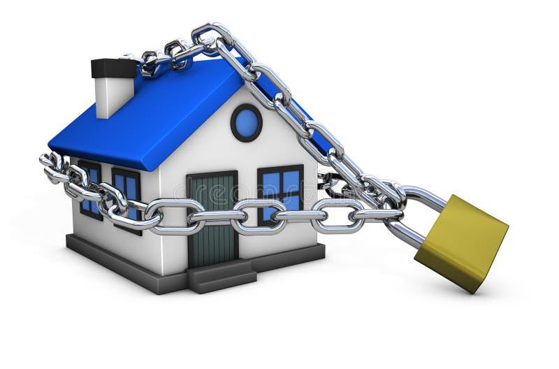 Begrepp för symbol för hussäkerhetshem låst stock illustrationer