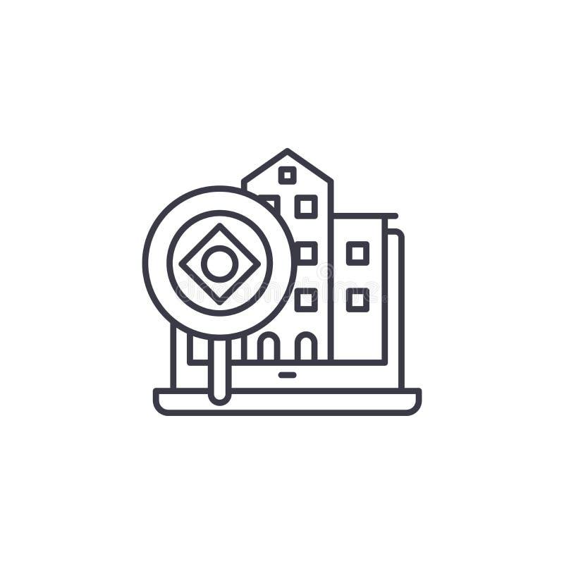 Begrepp för symbol för fastighetanalys linjärt Fastighetanalyslinje vektortecken, symbol, illustration stock illustrationer