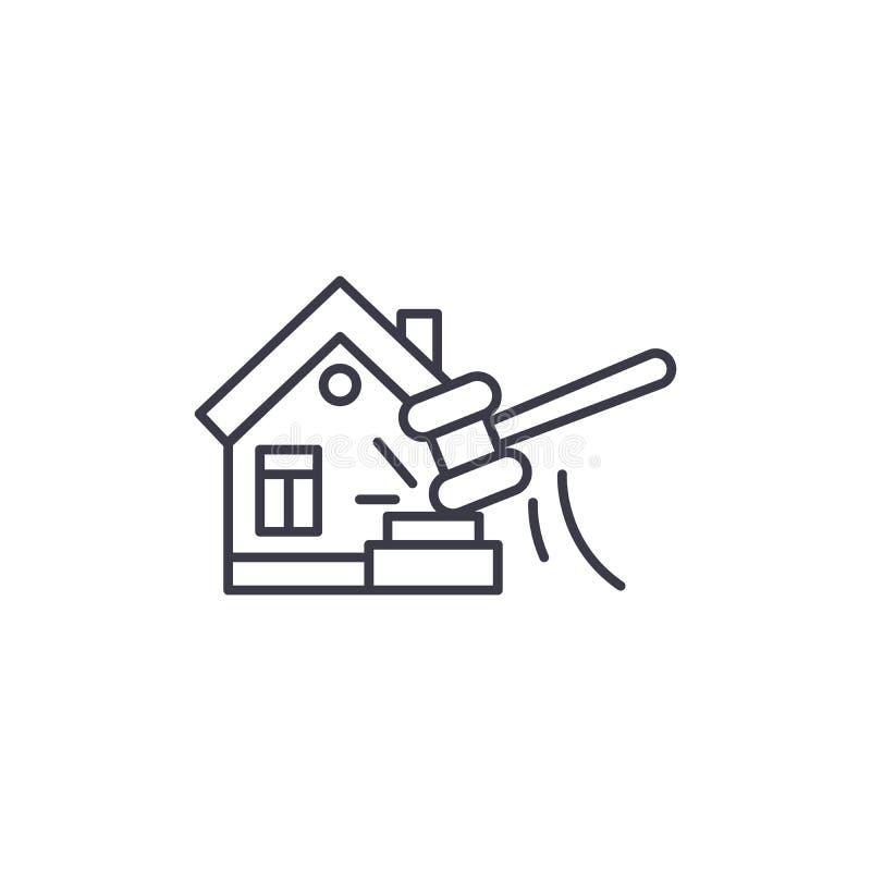 Begrepp för symbol för fastighetauktion linjärt Fastighetauktionlinje vektortecken, symbol, illustration royaltyfri illustrationer