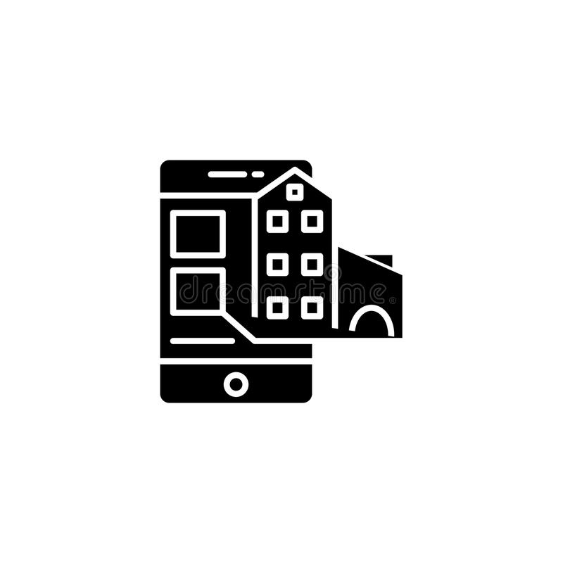 Begrepp för symbol för fastigheterbjudanden svart Fastigheterbjudanden sänker vektorsymbolet, tecknet, illustration stock illustrationer