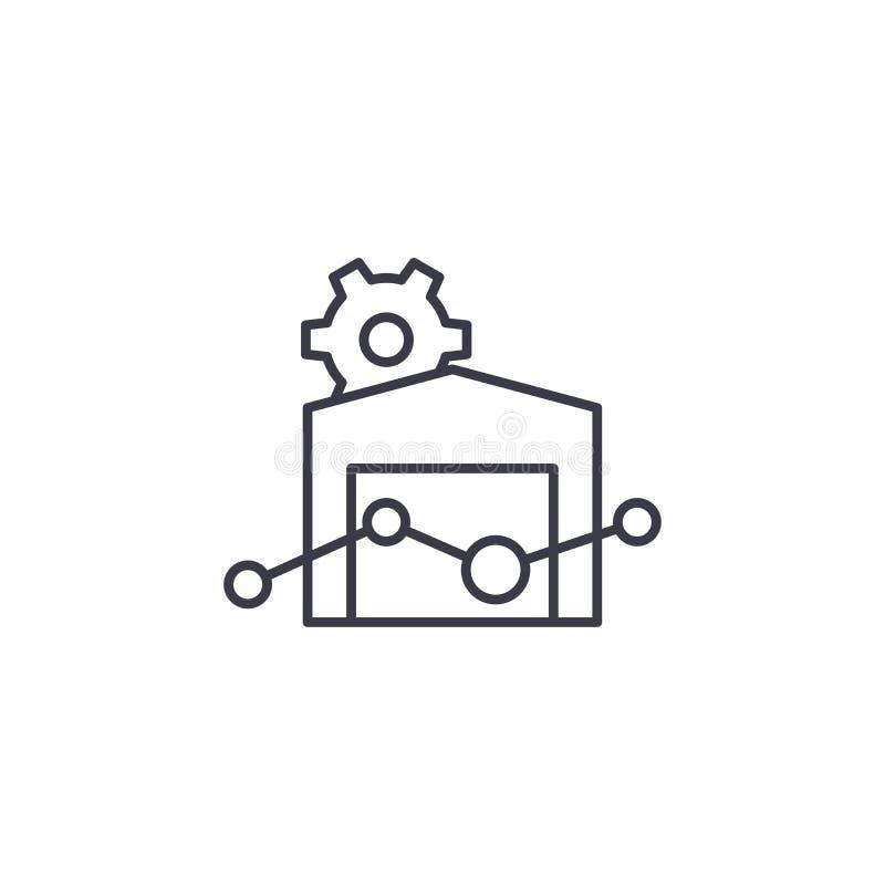 Begrepp för symbol för fastighetmarknad linjärt Fastighetmarknadslinje vektortecken, symbol, illustration vektor illustrationer