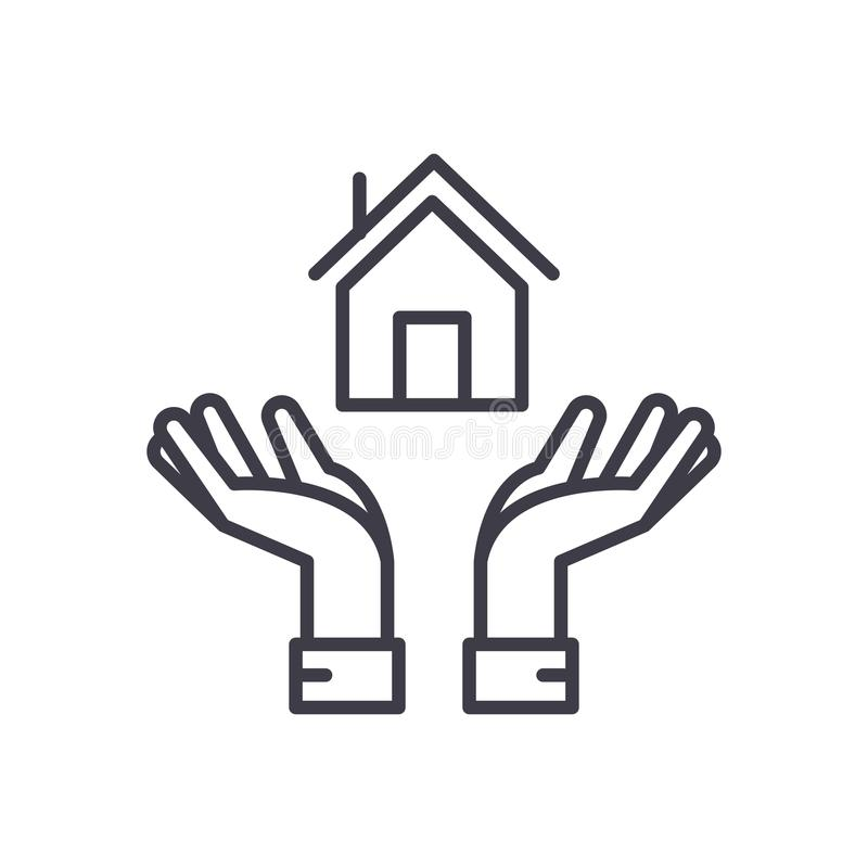 Begrepp för symbol för fastighetoperationer svart Fastighetoperationer sänker vektorsymbolet, tecknet, illustration stock illustrationer