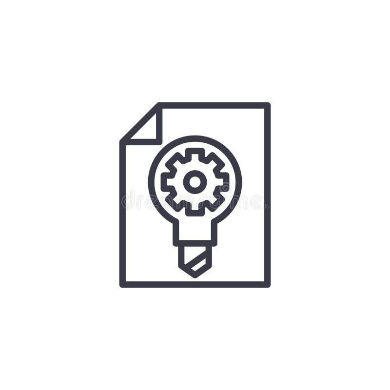 Begrepp för symbol för forskningutvecklingsplan linjärt Linje vektortecken, symbol, illustration för forskningutvecklingsplan vektor illustrationer