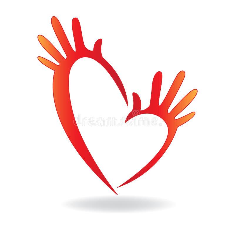 Begrepp för symbol för handhjärtaform av vektorn för portionfolklogo royaltyfri illustrationer