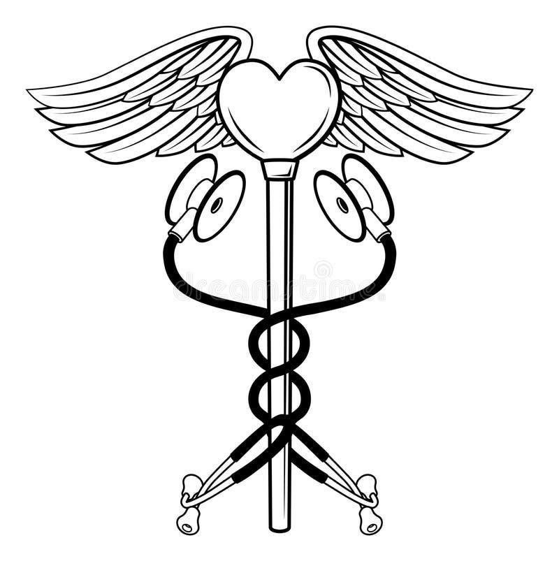 Begrepp för symbol för hjärtaCaduceusstetoskop medicinskt stock illustrationer