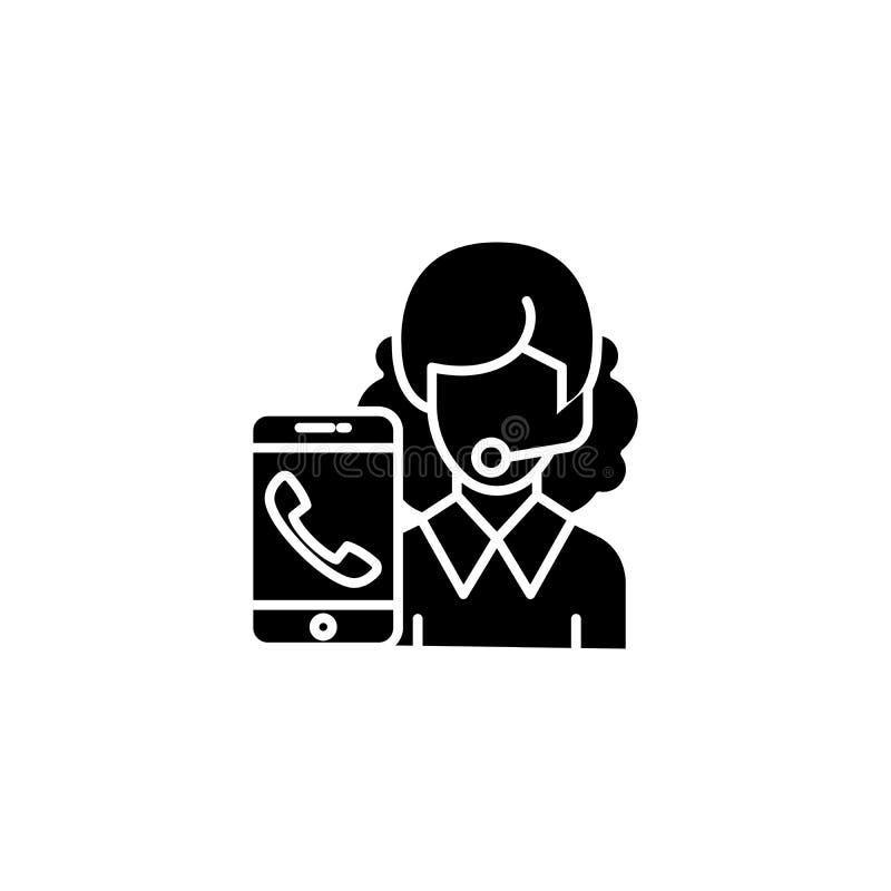 Begrepp för symbol för klientservicesvart Symbol för vektor för tjänste- lägenhet för klient, tecken, illustration vektor illustrationer