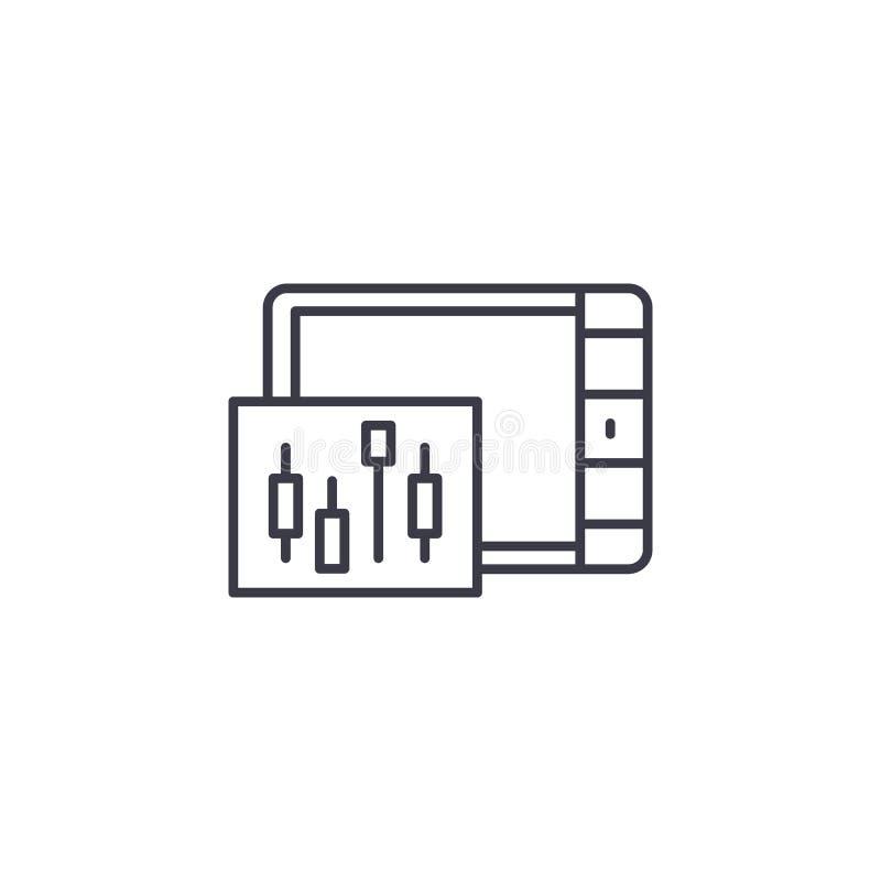 Begrepp för symbol för ljusstakediagram linjärt Ljusstakediagramlinje vektortecken, symbol, illustration royaltyfri illustrationer
