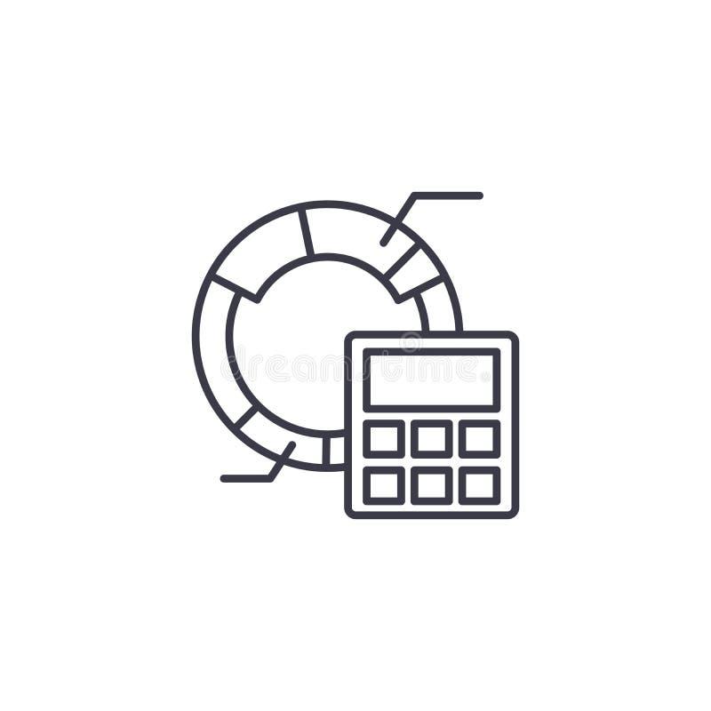 Begrepp för symbol för marknadsföringsbudget linjärt Budget- linje vektortecken, symbol, illustration för marknadsföring royaltyfri illustrationer