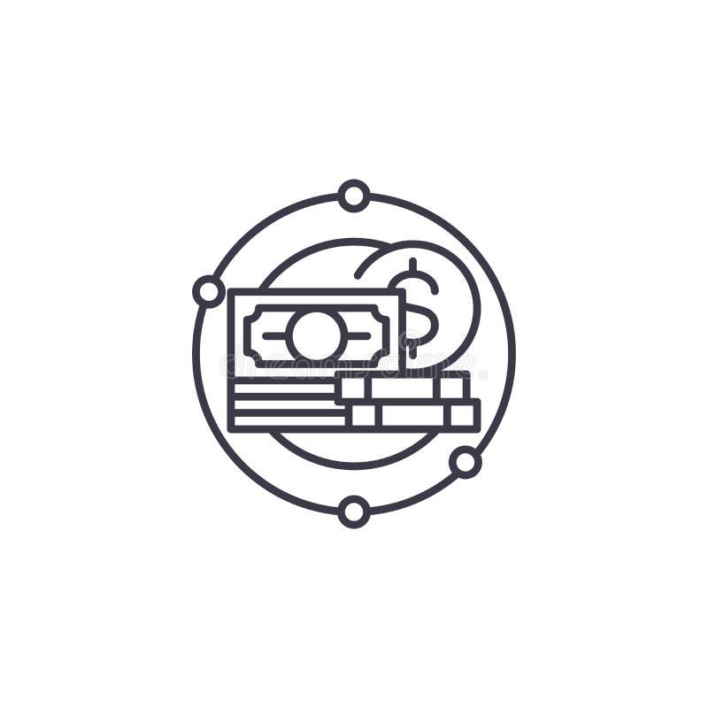 Begrepp för symbol för pengardanandesystem linjärt Linje vektortecken, symbol, illustration för pengardanandesystem stock illustrationer