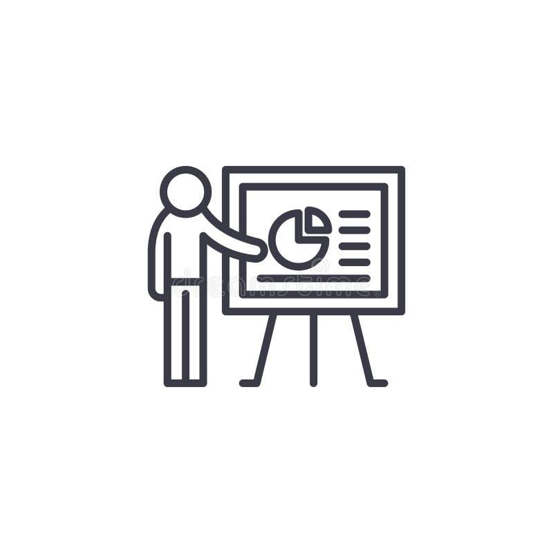 Begrepp för symbol för presentationsanförande linjärt Presentationsanförandelinje vektortecken, symbol, illustration royaltyfri illustrationer