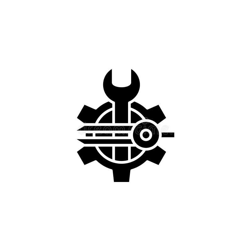 Begrepp för symbol för programvaruformgivaresvart Symbol för vektor för programvaruformgivarelägenhet, tecken, illustration royaltyfri illustrationer