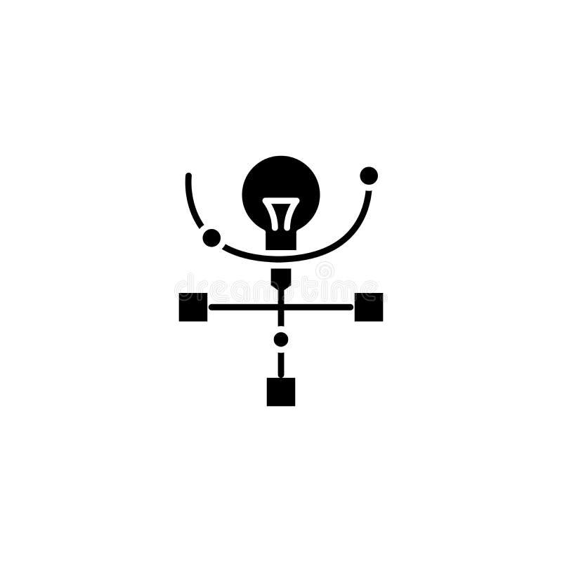 Begrepp för symbol för projektstruktursvart Symbol för vektor för projektstrukturlägenhet, tecken, illustration royaltyfri illustrationer