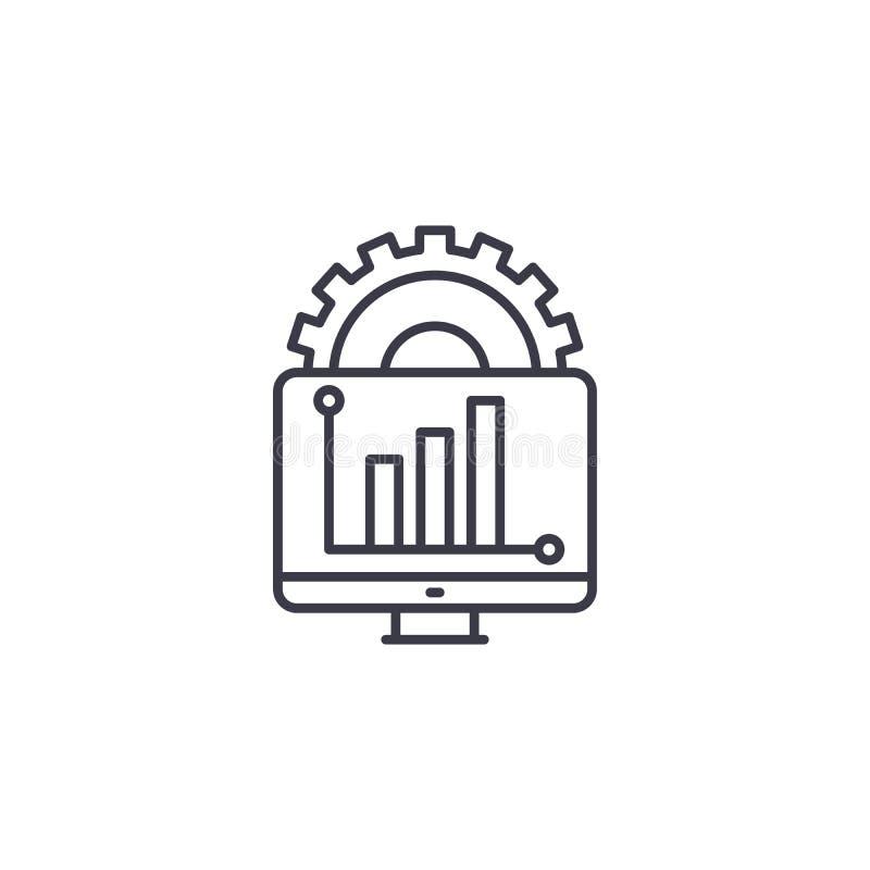 Begrepp för symbol för rapportutveckling linjärt Linje vektortecken, symbol, illustration för rapportutveckling royaltyfri illustrationer