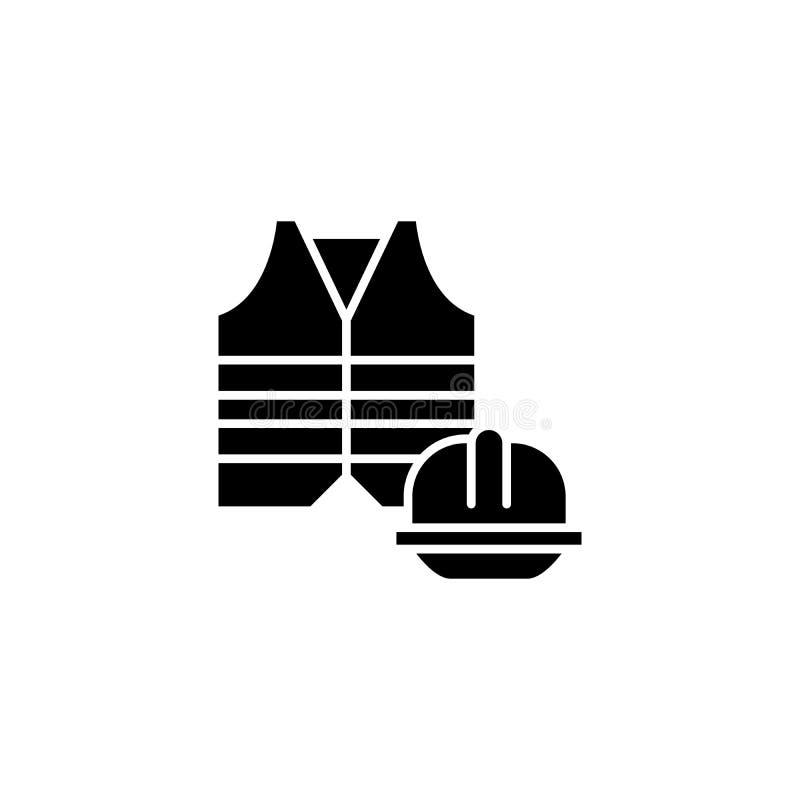 Begrepp för symbol för säkerhetsklädsvart Symbol för vektor för säkerhetsklädlägenhet, tecken, illustration royaltyfri illustrationer