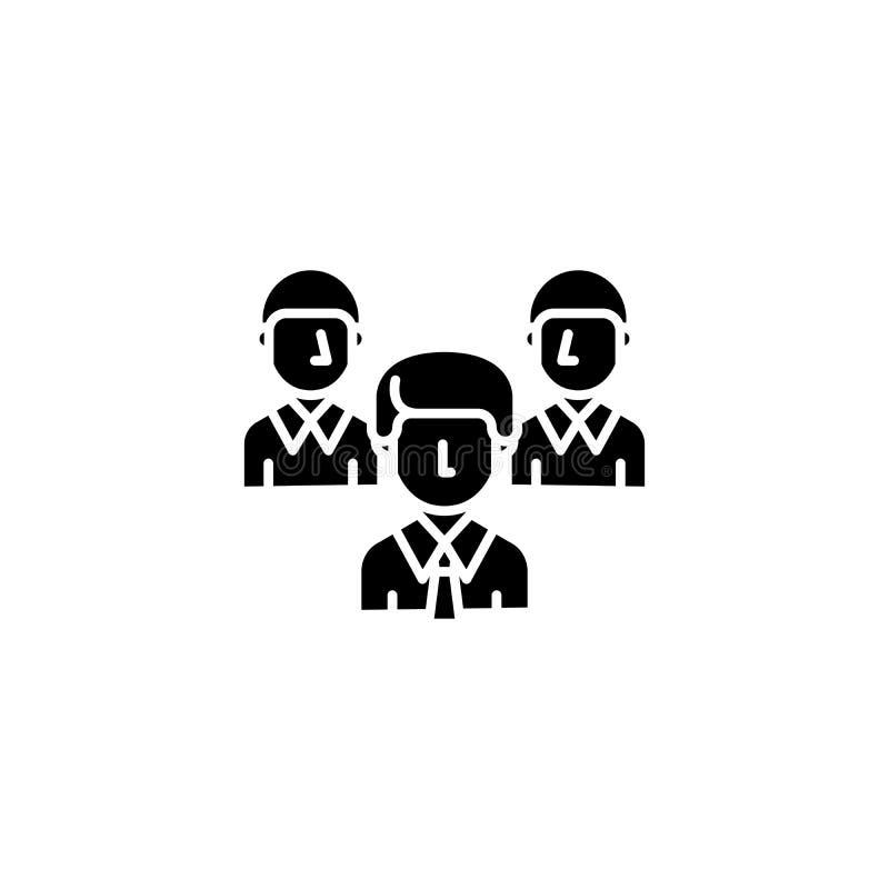 Begrepp för symbol för svart för arbetslagföretag Symbol för vektor för lägenhet för arbetslagföretag, tecken, illustration stock illustrationer