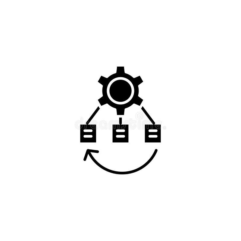 Begrepp för symbol för svart för projektaffärsstruktur Symbol för vektor för lägenhet för projektaffärsstruktur, tecken, illustra royaltyfri illustrationer