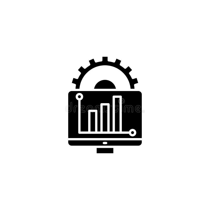 Begrepp för symbol för svart för rapportutveckling Symbol för vektor för lägenhet för rapportutveckling, tecken, illustration stock illustrationer