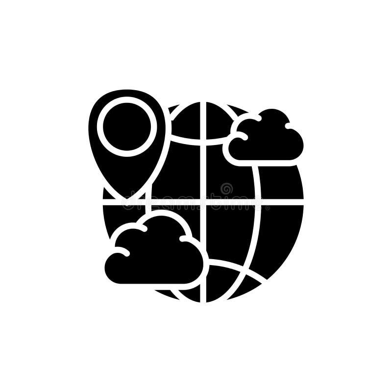 Begrepp för symbol för svart för världsväderprognos Symbol för vektor för lägenhet för världsväderprognos, tecken, illustration royaltyfri illustrationer
