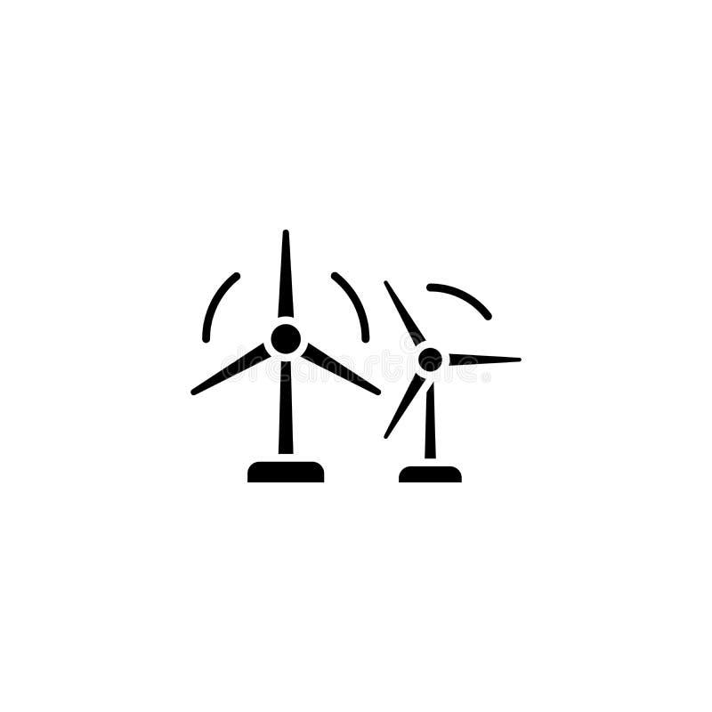 Begrepp för symbol för svart för vindlantgård Symbol för vektor för lägenhet för vindlantgård, tecken, illustration royaltyfri illustrationer
