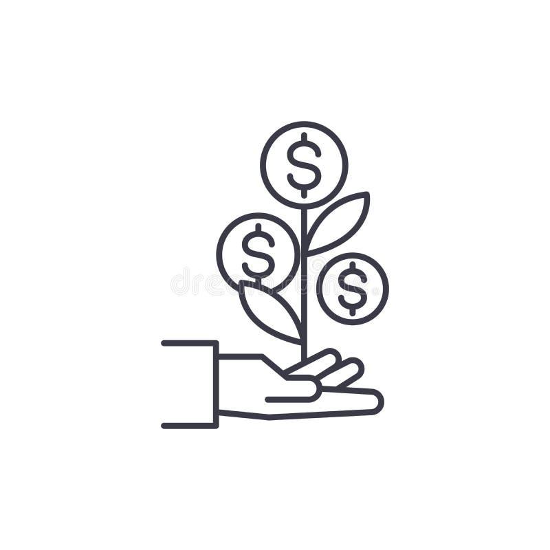 Begrepp för symbol för system för inkomstutveckling linjärt Linje vektortecken, symbol, illustration för system för inkomstutveck royaltyfri illustrationer