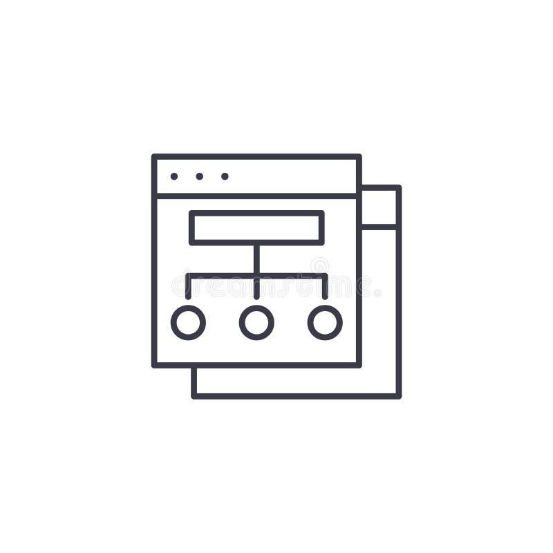 Begrepp för symbol för Websitestruktur linjärt Websitestrukturlinje vektortecken, symbol, illustration vektor illustrationer