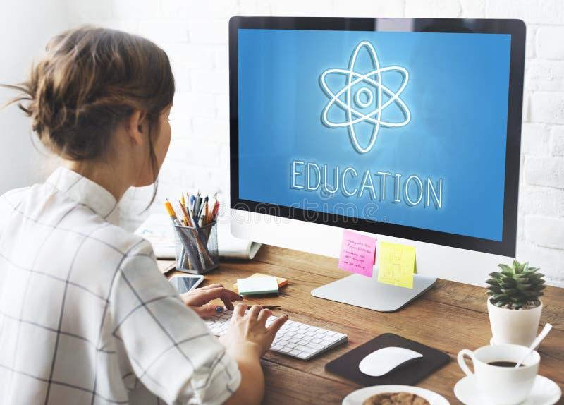 Begrepp för symboler för utbildningsvetenskapsfysik grafiskt arkivbild