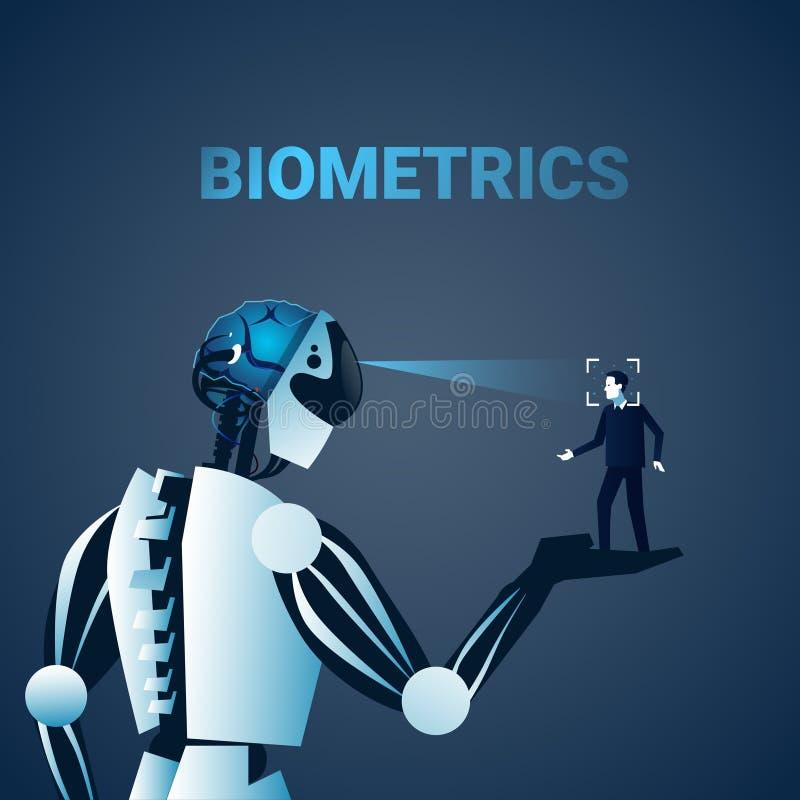 Begrepp för system för erkännande för teknologi för åtkomstskydd för ID för Biometrics för framsida för robotscanningman vektor illustrationer