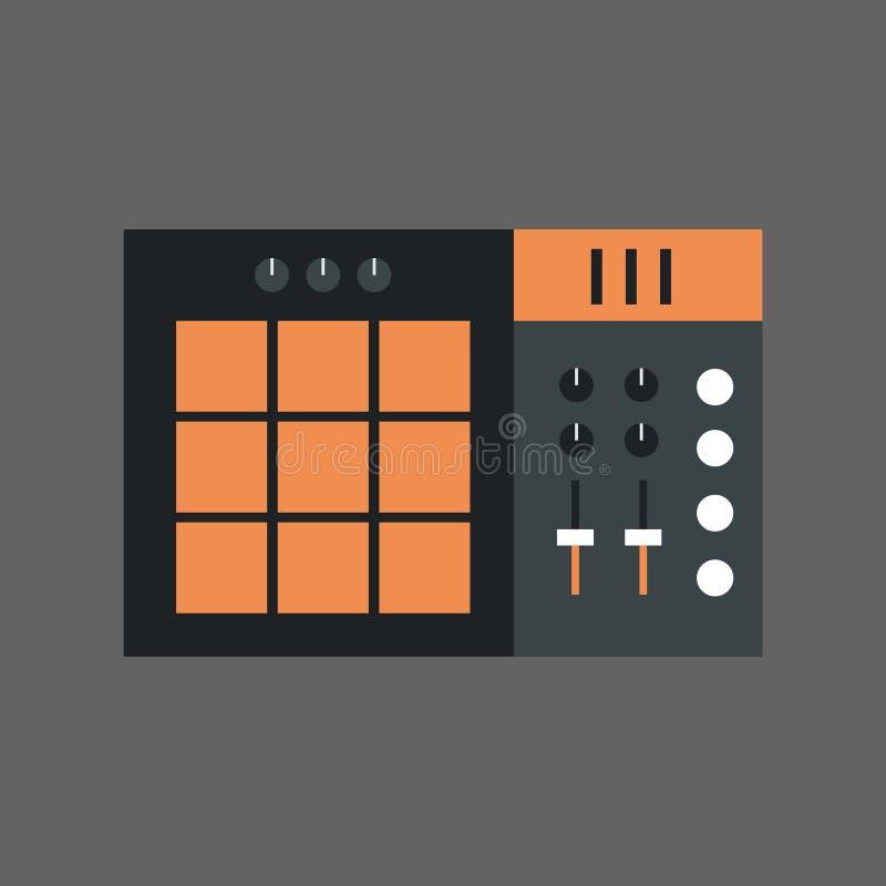 Begrepp för system för utjämnare för studio för ljud för musikblandaresymbol royaltyfri illustrationer