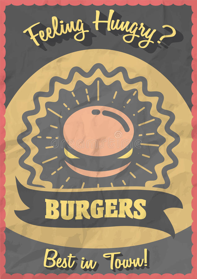 Begrepp för tappninghamburgareaffisch Retro reklamblad eller broschyr med hamburgaren vektor illustrationer