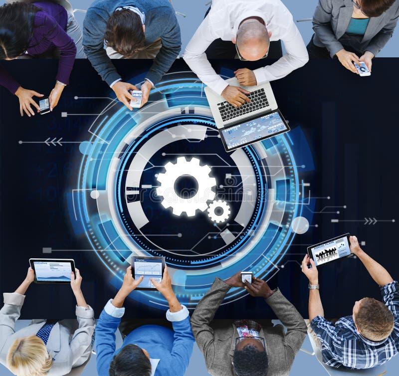 Begrepp för teamwork för kugge för Digitalt nätverk för teknologi royaltyfri bild