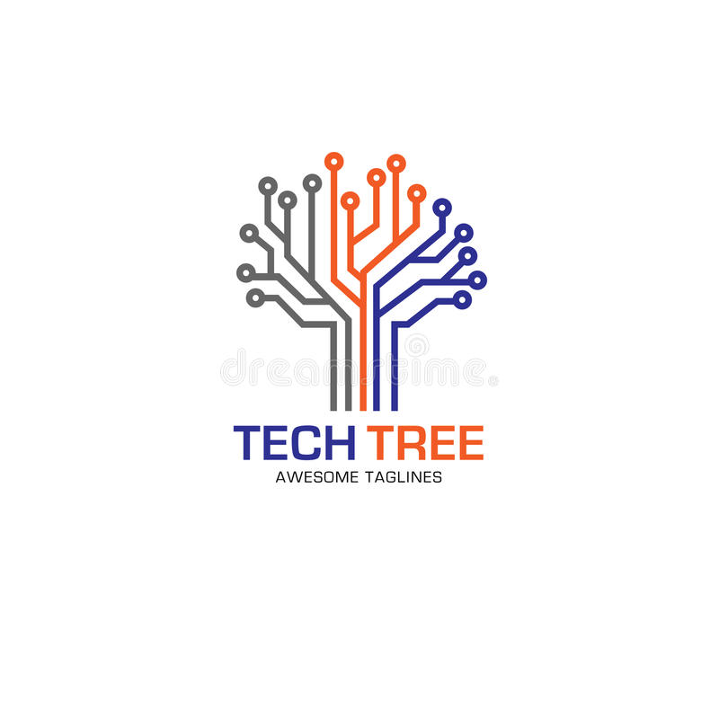 Begrepp för Techträdlogo royaltyfri illustrationer